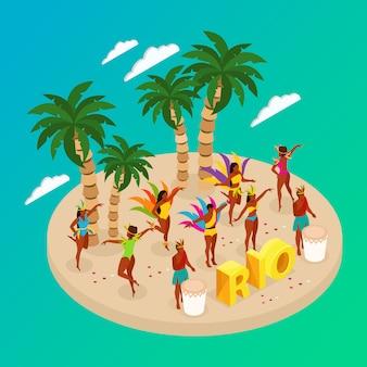 Conceito de carnaval brasileiro com pessoas a dançar e praia
