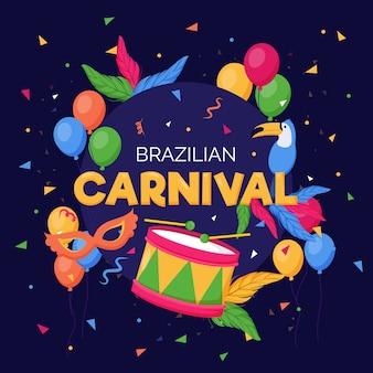 Conceito de carnaval brasileiro de design plano
