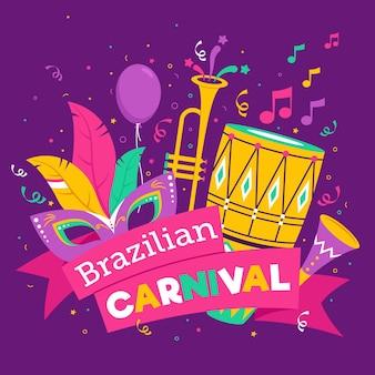 Conceito de carnaval brasileiro desenhado à mão