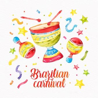 Conceito de carnaval brasileiro em aquarela