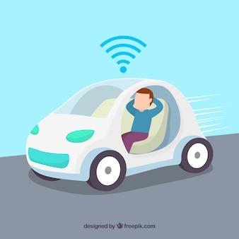 Conceito de carro autônomo com design plano