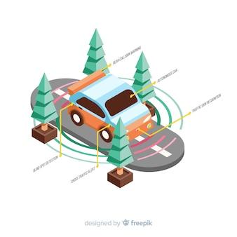Conceito de carro autônomo isométrico