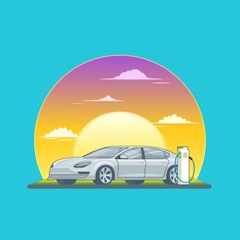Conceito de carro sedan elétrico de carregamento