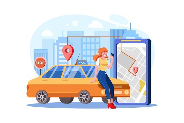 Conceito de carro táxi para pedidos online