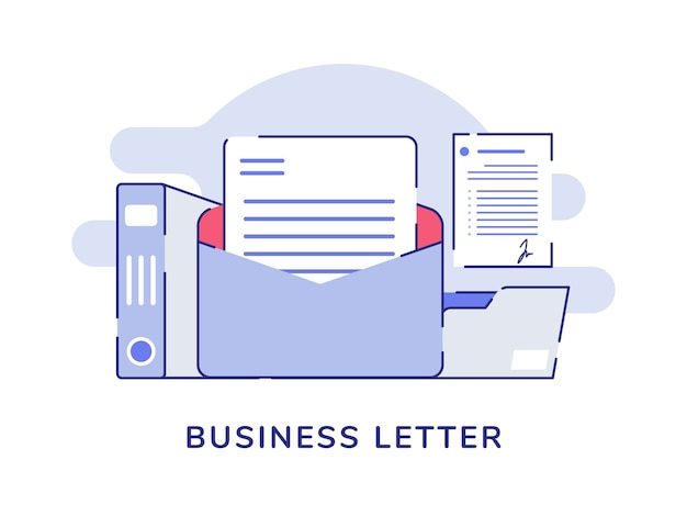 Conceito de carta comercial abrir pasta de arquivo de correio documento com fundo branco isolado