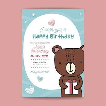 Conceito de cartão de aniversário infantil