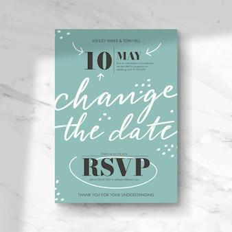 Conceito de cartão de casamento adiado tipográfico