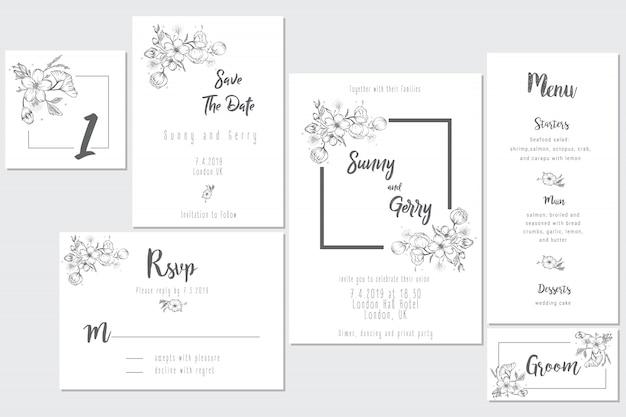 Conceito de cartão de casamento preto e branco