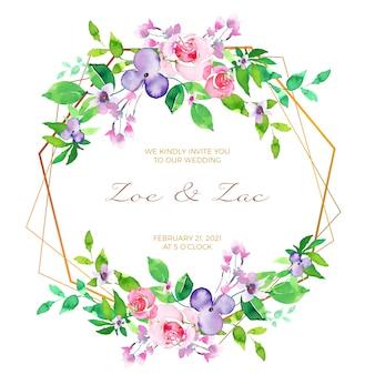 Conceito de cartão de convite de moldura floral casamento
