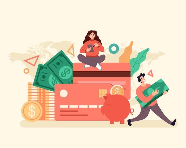 Conceito de cartão de crédito de dinheiro de gestão de banco de crédito e empréstimo.