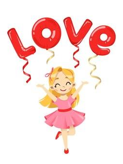 Conceito de cartão de dia dos namorados. menina feliz dos desenhos animados com balões com a inscrição de amor acima