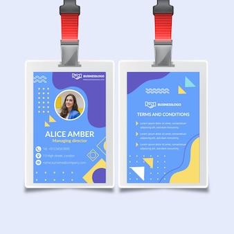Conceito de cartão de identificação de empresária