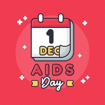 Conceito de cartão de ilustração de dia de aids