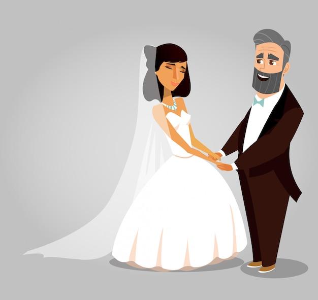 Conceito de cartão de saudação de vetor de cerimônia de casamento