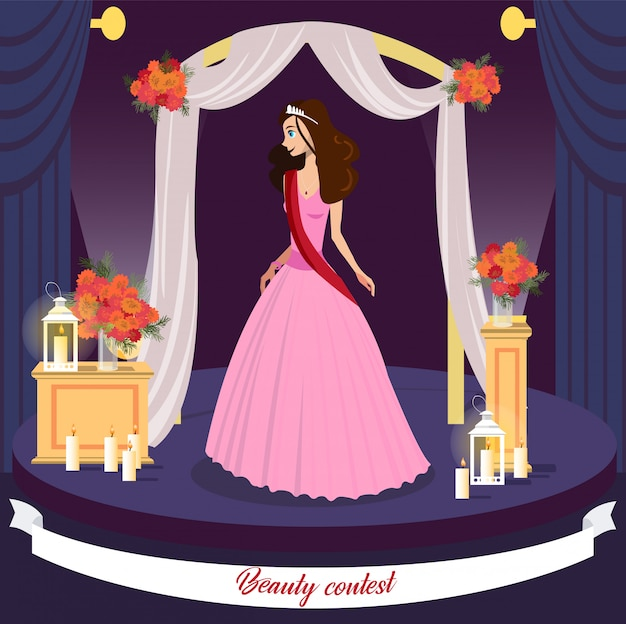 Conceito de cartão de vetor de vencedor de concurso de beleza