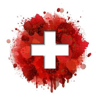 Conceito de cartão do dia nacional da suíça. bandeira da suíça em fundo de salpicos de tinta vermelha. ilustração vetorial