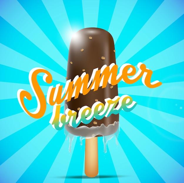 Conceito de cartaz de brisa de verão com sorvete de chocolate