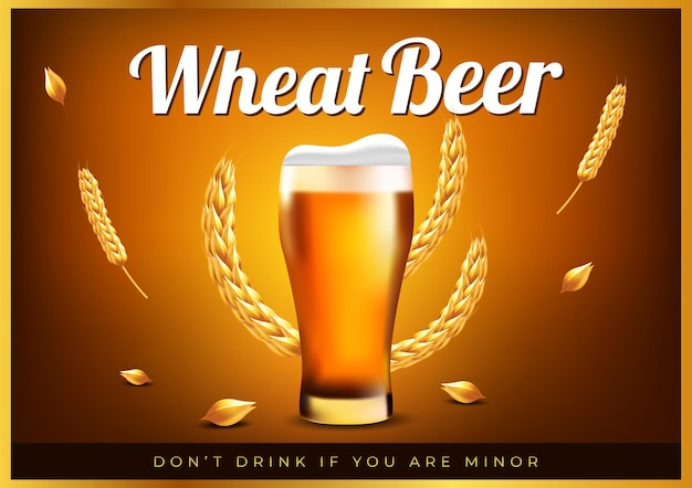 Conceito de cartaz de cerveja de trigo para banner de loja
