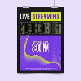 Conceito de cartaz de concerto de música de transmissão ao vivo