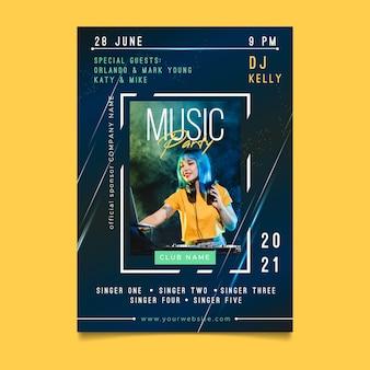Conceito de cartaz de evento de música 2021