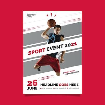 Conceito de cartaz de evento esportivo 2021