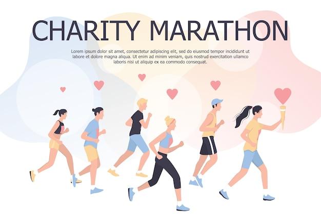 Conceito de cartaz de maratona de caridade. pessoas correm uma maratona de caridade. mulher e homem correndo para evento beneficente ou suporte de saúde. ilustração