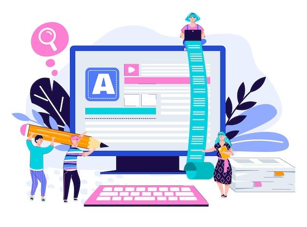 Conceito de cartaz de redação e criação de conteúdo com pessoas dos desenhos animados com ferramentas de escrita usando um monitor gigante de computador.