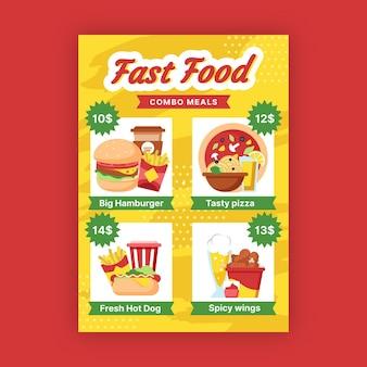 Conceito de cartaz de refeições combinadas