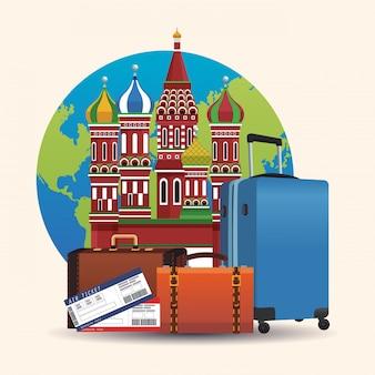 Conceito de cartaz de viagens na rússia