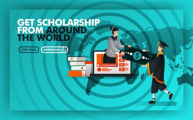 Conceito de cartaz obter bolsa de estudos de todo o mundo
