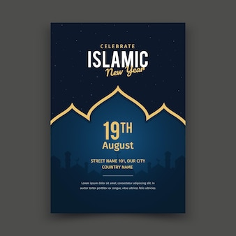 Conceito de cartaz plana ano novo islâmico