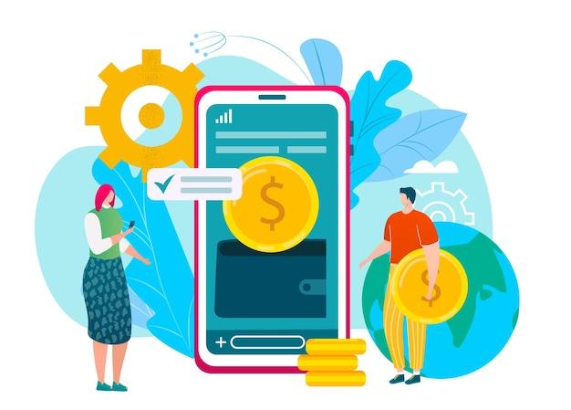 Conceito de carteira móvel na tela do smartphone