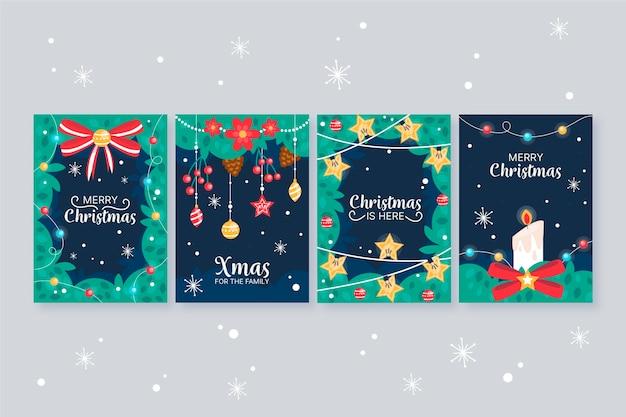 Conceito de cartões de natal desenhados à mão