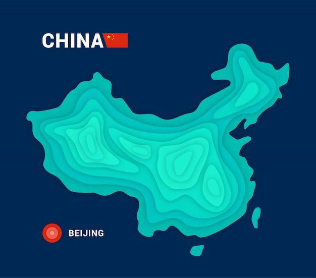 Conceito de cartografia 3d do mapa da china Vetor Premium