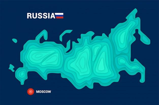 Conceito de cartografia 3d do mapa da rússia