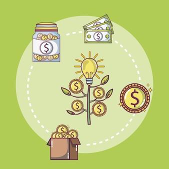 Conceito de cartoons de investimento e poupança de dinheiro