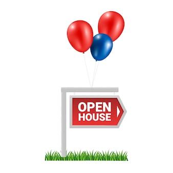 Conceito de casa aberta com balões