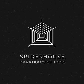 Conceito de casa-aranha de logotipo de construção