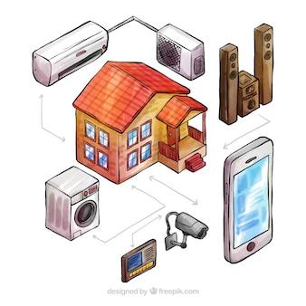 Conceito de casa inteligente desenhado de mão