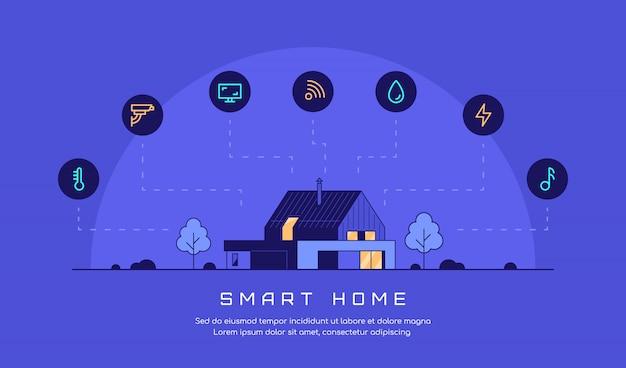 Conceito de casa inteligente, design de banner de estilo simples.