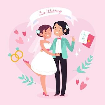 Conceito de casal casamento para ilustração