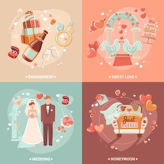 Conceito de casamento 4 ícones lisos quadrados