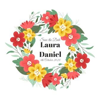Conceito de casamento com coroa de flores