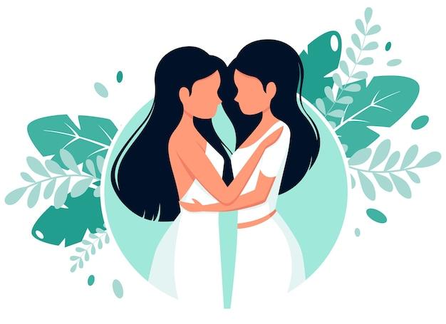 Conceito de casamento lgbt. casal de lésbicas.