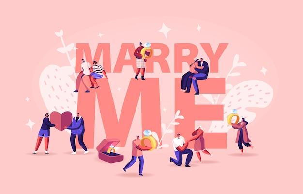 Conceito de casar comigo. homens fazendo proposta romântica para mulheres, dando o anel de noivado em pé no joelho. ilustração plana dos desenhos animados