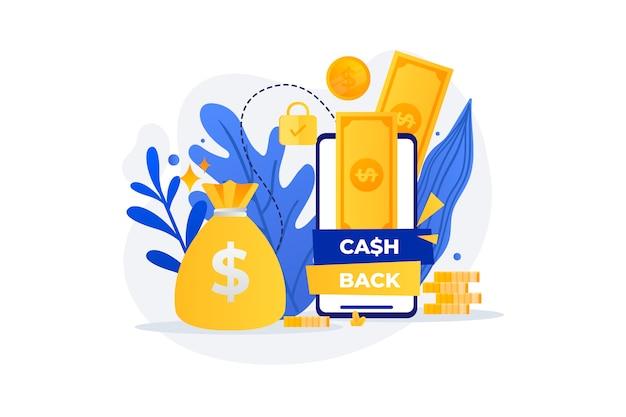 Conceito de cashback com notas de ouro