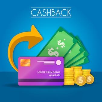 Conceito de cashback com notas e cartão de crédito