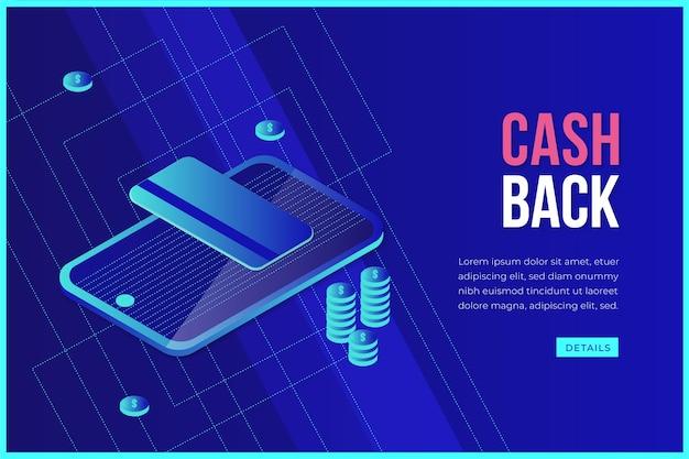 Conceito de cashback isométrico com smartphone