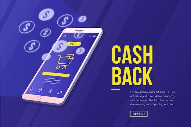 Conceito de cashback isométrico