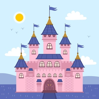Conceito de castelo colorido conto de fadas